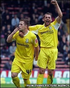 Ross McCormack celebrates the first of his brace of goals with Michael Chopra as Cardiff win 2-0 at Crystal Palace