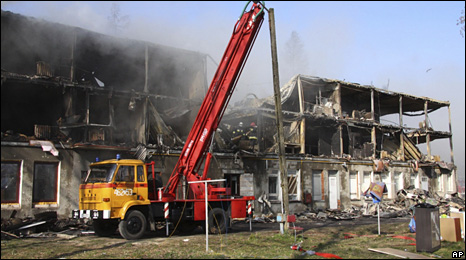Aftermath of the blaze inside the hostel (13 April 2009)