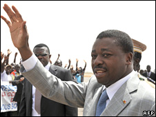 Togolese President Faure Gnassingbe in Burkina Faso on 1 March 2009