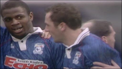 Nathan Blake celebrates his FA Cup goal against Man City