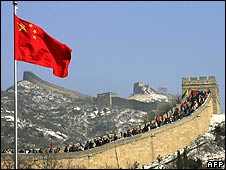 People climbing Great Wall of China
