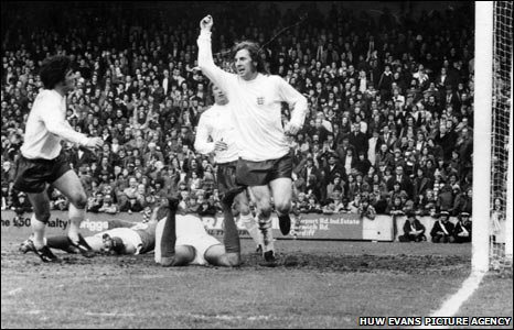 1974: England footballing maverick Stan Bowles scores his only international goal against Wales at Ninian Park