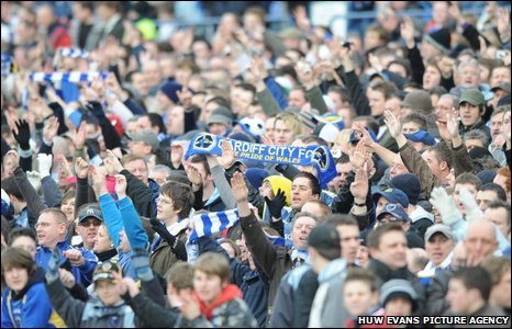 2009: Bluebirds fans enjoy the final FA Cup game at Ninian Park as Cardiff hold Premier League giants Arsenal to a goal-less draw