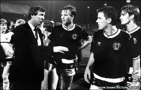 1985: Scotland assistant manager Alex Ferguson tells Scotland's players that their manager Jock Stein had collapsed after their World Cup qualifier at Ninian Park
