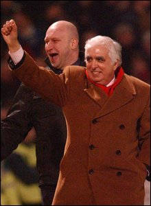 2002: Controversial former Cardiff City owner Sam Hammam makes his notorious walk around the pitch during their momentous FA Cup win over Leeds