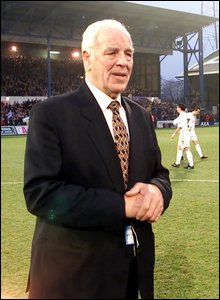 2002: Welsh football great John Charles is hailed by the Ninian Park crowd prior to Cardiff City's FA Cup tie with Leeds United, two of his former sides