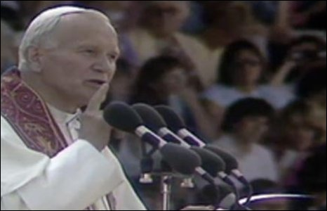1982: The late Pope John Paul II addresses a youth rally at Ninian Park as part of his six-day tour of the UK