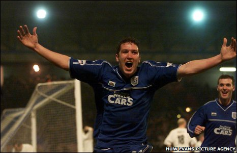 2002: Scott Young scores an unforgettable FA Cup winner in a third round clash against the then Premier League leaders Leeds United