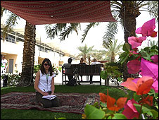 Sarah Holt takes shelter in Bahrain