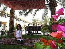 Sarah Holt takes shelter in Bahrain