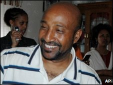 Berhanu Nega celebrating in Addis Aababa after his release from prison, July 2007