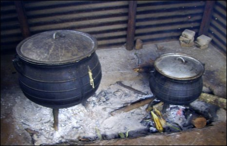 Cooking pots on the fire