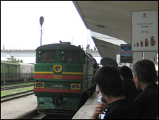 train arriving in Dushanbe station