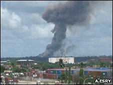 Photo of explosion on outskirts of Dar es Salaam sent in by BBC News reader Amor Esry