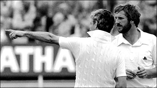 Ian Botham (right) discusses tactics with England captain Mike Brearley during the fourth Test Match against Australia at Edgbaston in 1981