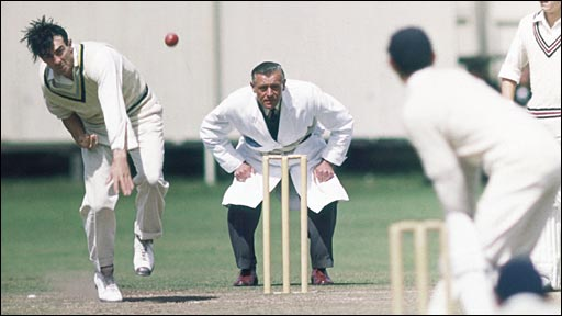 Fred Trueman in action