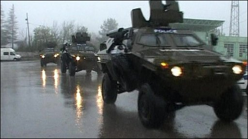 Vehicles on way to base
