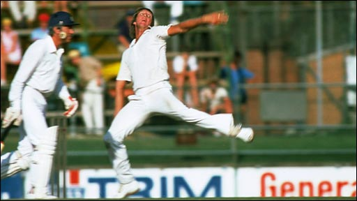 Jeff Thomson in full flow against England