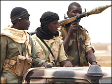 Malian soldiers patrol
