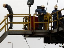 Oil workers in Bahrain