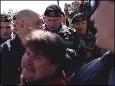 Police dispurcing protesters in Minsk