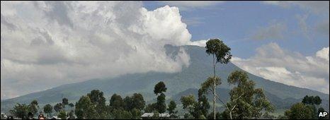 Nyiragongo volcano smoking