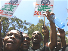 Mau Mau War Veterans Association protesters outside the British embassy in Nairobi on 18 February 2005