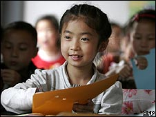 Chinese girl during class at her new school on 10 May 2009