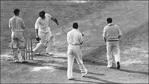 Don Bradman is bowled for a duck in his last Test