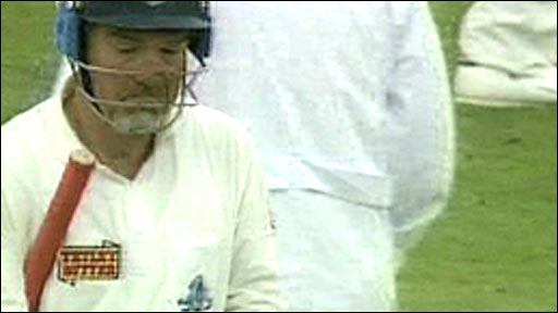 Mike Gatting after being bowled by Shane Warne at Old Trafford