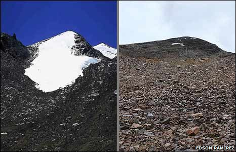 The Chacaltaya glacier in 1996 and today