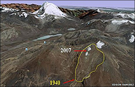 Graphic showing glacial retreat