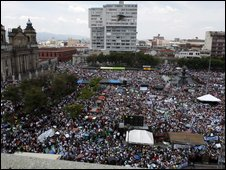 Supporters of President Colom gather in the Constitution Square of Guatemala City