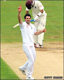 James Anderson appeals for an lbw decision