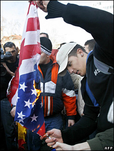 Serbs protest against US recognition of Kosovo's independence in February 2008