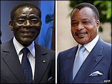 Denis Sassou-Nguesso of Republic of Congo (right) and Teodoro Obiang Nguema of Equatorial Guinea (left)