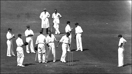 Len Hutton is congratulated at the Oval