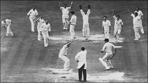 Derek Underwood bowls England to a win at the Oval