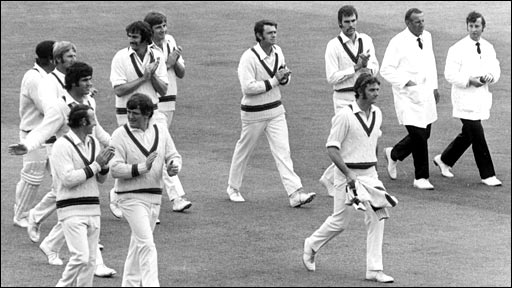 Bob Massie leaves the pitch at Lord's