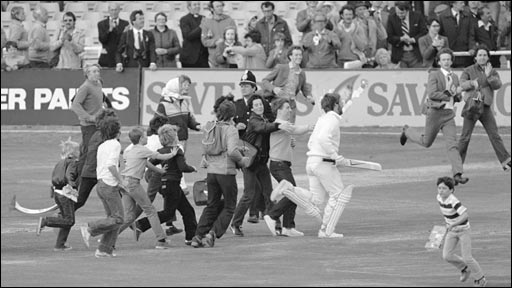 Ian Botham leaves the pitch at Headingley