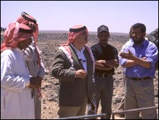 Prince Hassan talks to the Bedouin