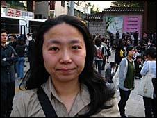 Eom Hee-ok in busy street