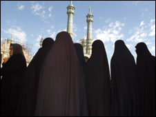 Women outside a mosque in Iran