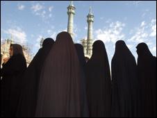 Women outside a mosque in Iran