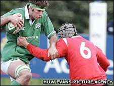 Conor McInerney in action for Ireland Under-20 against Wales