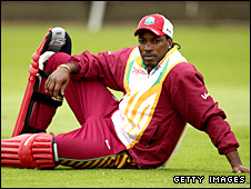 Chris Gayle relaxes during a net session