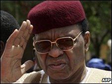 File pic of Niger's President Mamadou Tandja