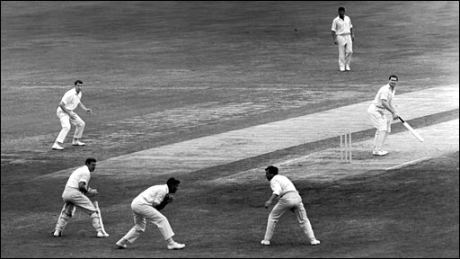 Colin Cowdrey catches Neil Hawke to give Fred Trueman his 300th Test wicket