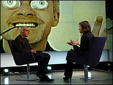 Kirsty Wark and Damien Hirst