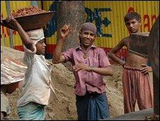 Boys working on Dhaka building site